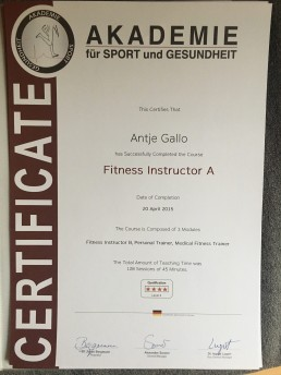 Fitness Trainer A Certificate