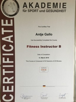 Fitness Trainer B Certificate